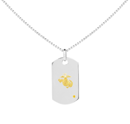 USMC 14K Gold & Sapphire Classic Dog Tag - Rosie Network Exclusive - The Jewelry Republic