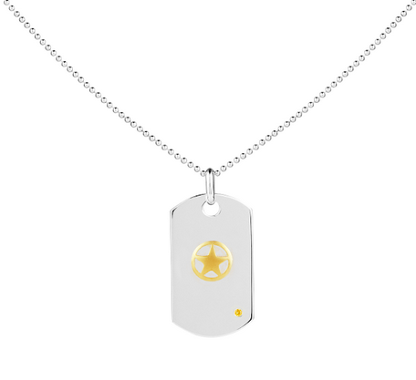 ARMY 14K Gold & Sapphire Classic Dog Tag - Rosie Network Exclusive - The Jewelry Republic