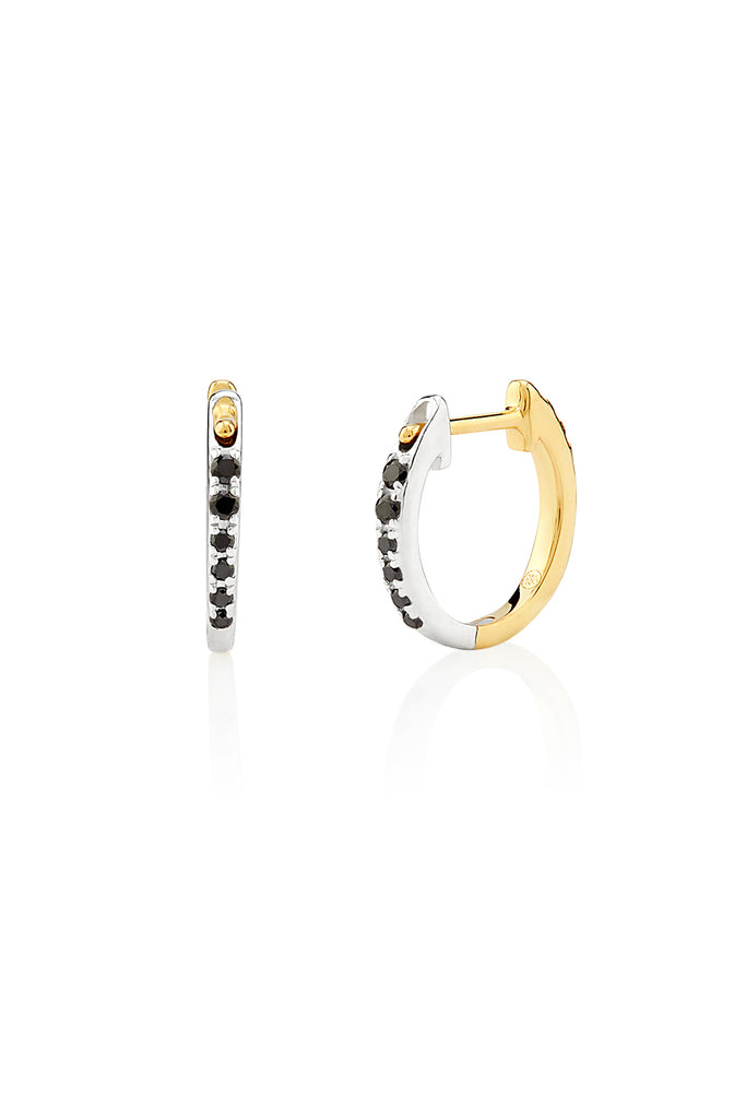 Black & White Diamond Huggie Earrings - The Jewelry Republic