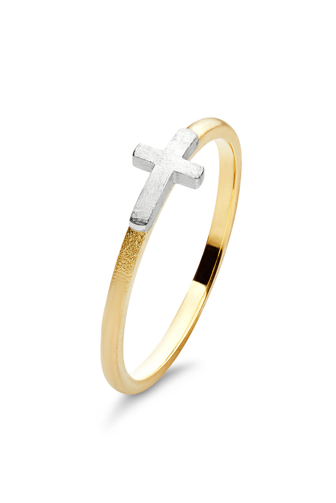 Two Tone Subtle Cross - The Jewelry Republic