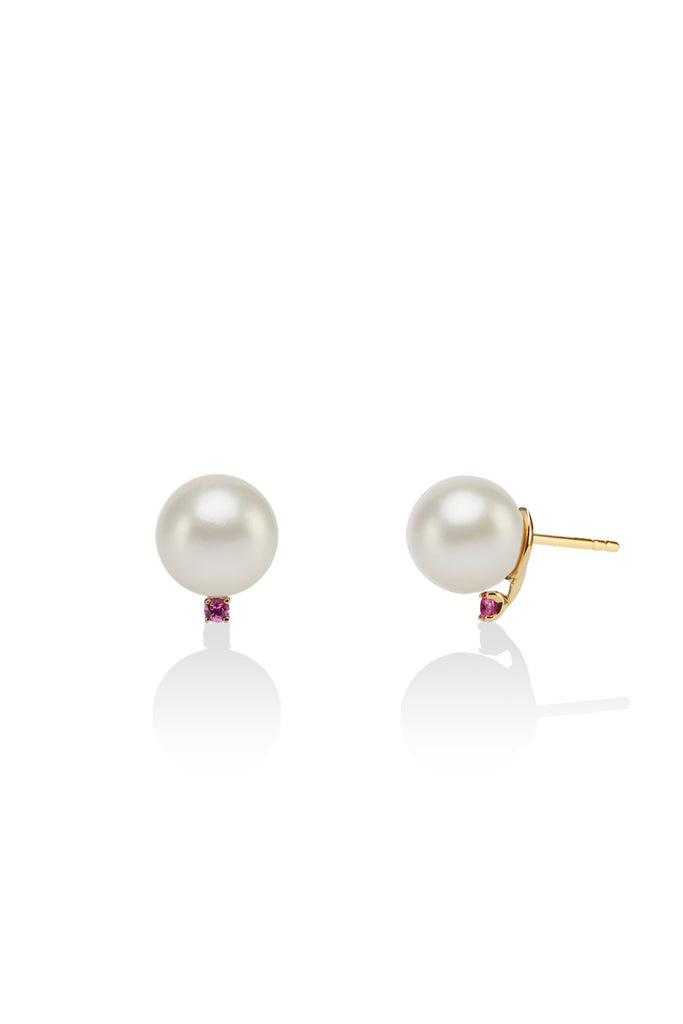 Pink Sapphire, Gold & Pearl Earrings - The Jewelry Republic