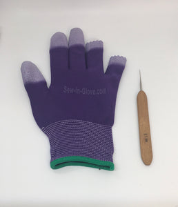 One Purple Insta-Loc Glove and One 0.05 Crochet Hook Needle