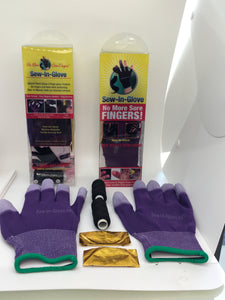 Two Purple Sew-In-Glove,Two Needles and Threads