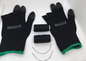 Two Black Sew-In-Glove, Two Needles and Two Thread