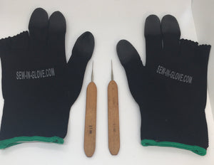 Two Black Insta-Loc Gloves and Two 0.05 Crochet Hook Needles