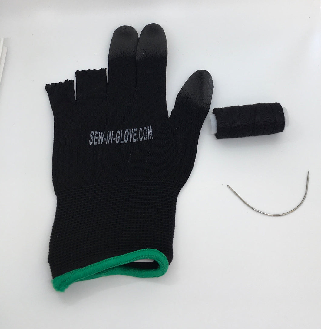 One Black Sew-In-Glove , one needle and one thread