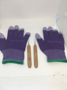 Two Purple Insta -Loc Glove and Two 0.05 Crochet Hook Needle