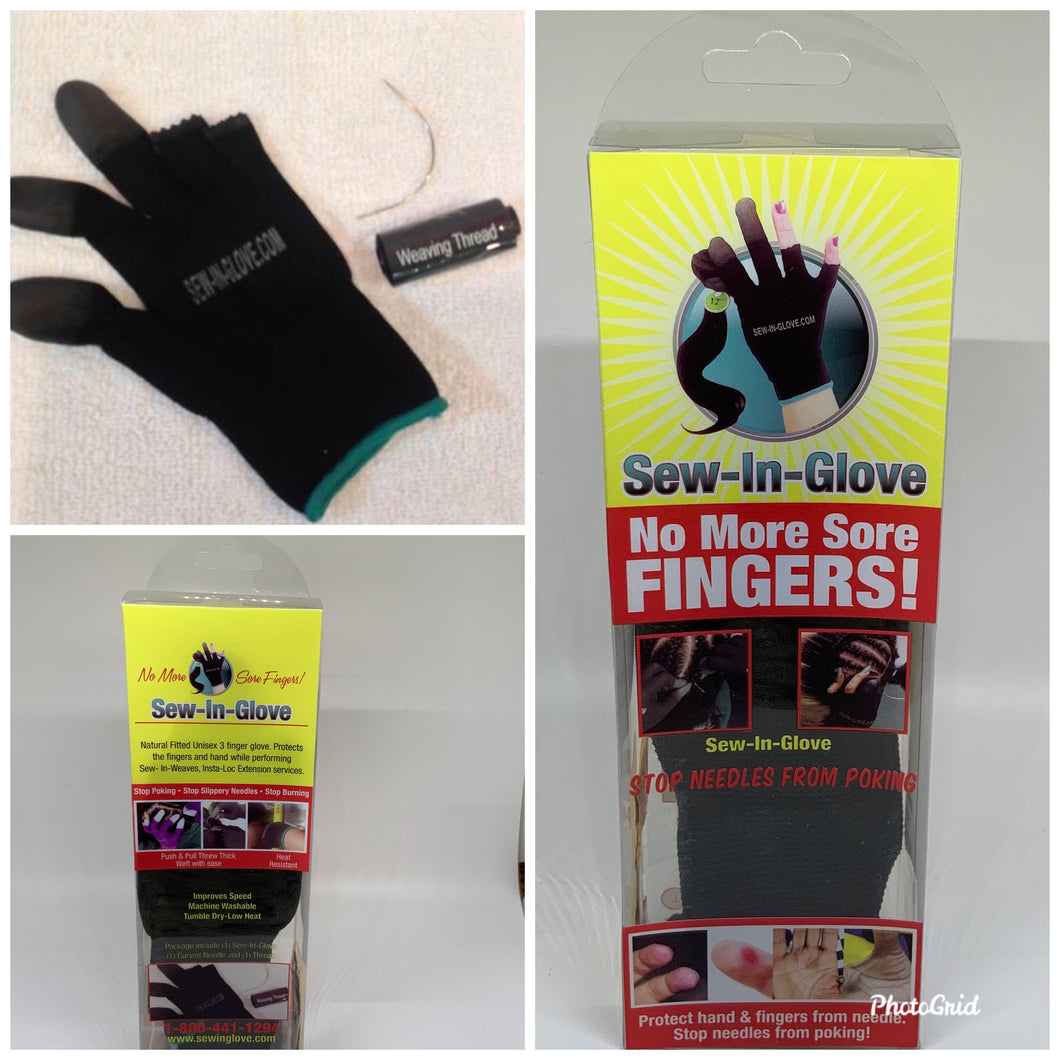 2 IN 1  Sew-in-glove/ Insta-Loc glove. Includes:  Combo Set  include  1 sew-in-glove, 1 large needle and 1 black weave thread
