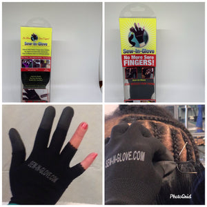 Sew-in-glove..... Includes: 2 Sew-in-Glove Single ,2 Needle and  2 Thread