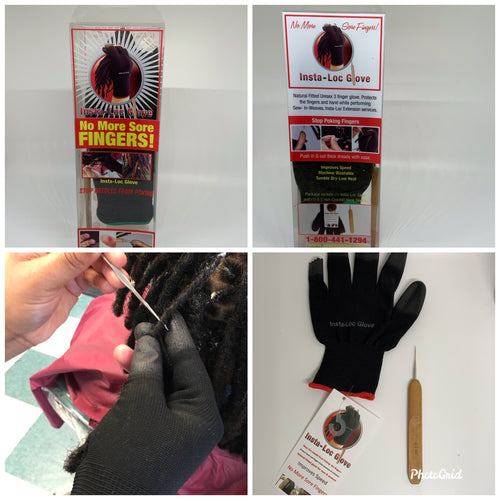 Two Insta-Loc Gloves Two 0.5 Crochet Needle..  Two Pack Black Insta-Loc Gloves