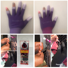 Load image into Gallery viewer, Two Purple Insta Loc Gloves Two 0.05 Crochet Needles