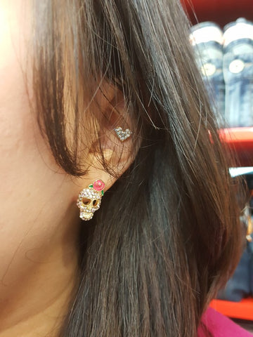 Roses & Skull Crystal Stud Earrings