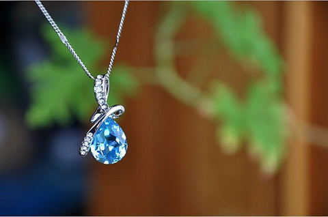 925 Sterling Silver Blue Crystal Necklace