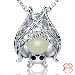 Luminous Bat Pendant Necklace (Genuine 925 Sterling Silver)