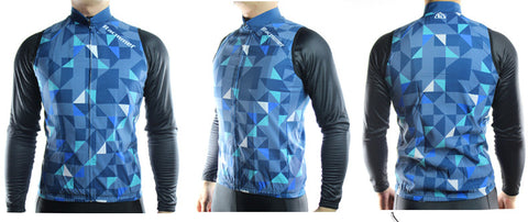Racmmer Blue Triangles Windproof Gilet - Drafters Cycle Store