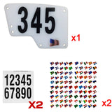 Saddle Rail Race Number Mount or Race Plate & Decals