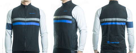 Racmmer Black & Blue Striped Windproof Gilet - Drafters Cycle Store