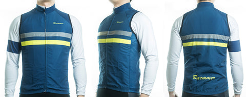 Racmmer Navy & Yellow Striped Windproof Gilet - Drafters Cycle Store