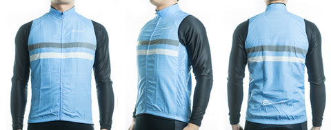 Racmmer Blue Striped Windproof Gilet - Drafters Cycle Store