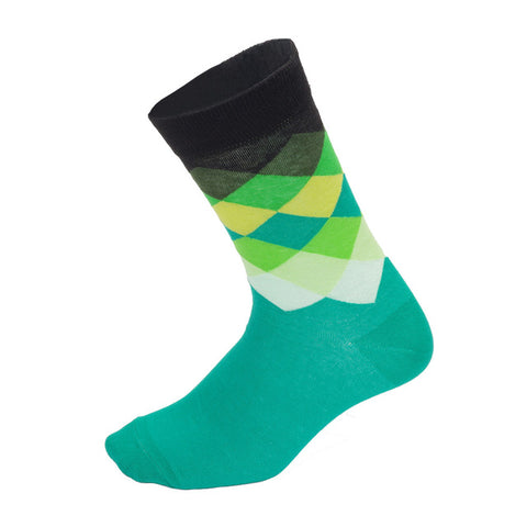 Turquoise & Black Diamond Pattern Socks - Drafters Cycle Store
