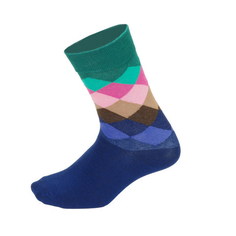 Blue & Turquoise Diamond Pattern Socks - Drafters Cycle Store