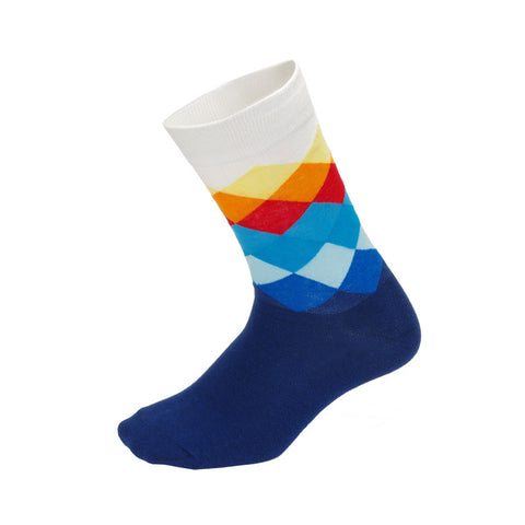 Blue/Orange & White Diamond Pattern Socks - Drafters Cycle Store
