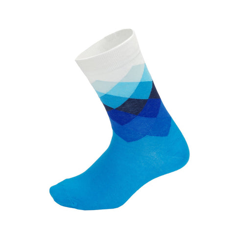 Blue & White Diamond Pattern Socks - Drafters Cycle Store