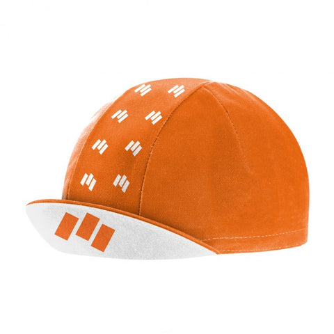 Orange and White Ticker Cycling Cap