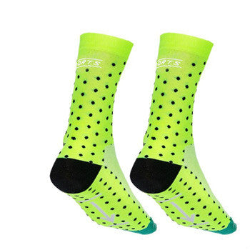 Fleuro Yellow/Black/Green Dotty Breathable Cycling Socks - Drafters Cycle Store