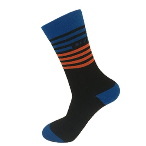 Black & Blue/Orange Stripes Breathable Sports Socks - Drafters Cycle Store