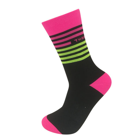 Yellow/Pink Stripes Breathable Sports Socks - Drafters Cycle Store