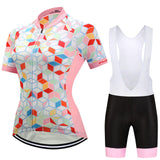 Womens Pink Geometric Jersey with Bibs or Shorts Set