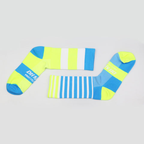 Breathable Compression Cycling Socks - Yellow & Blue - Drafters Cycle Store