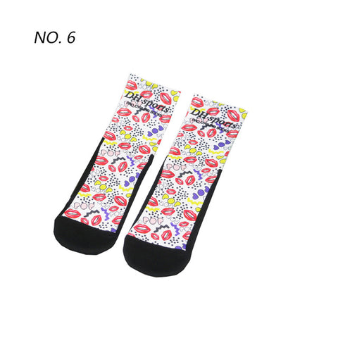 Lip Pop Pattern Print Breathable Socks