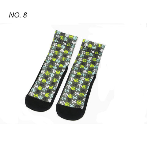 Wheels Pattern Print Breathable Socks