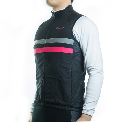 Racmmer Black & Pink Striped Windproof Gilet - Drafters Cycle Store