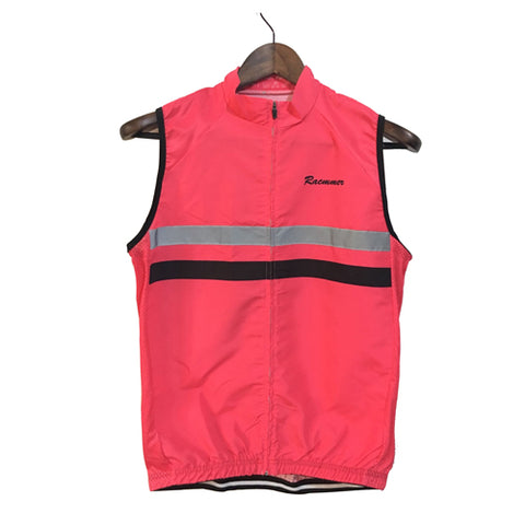Racmmer Pink Striped Windproof Gilet - Drafters Cycle Store