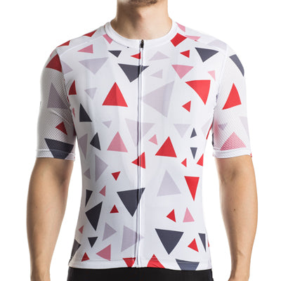 Racmmer White Spaces Triangle Geometry Jersey - Drafters Cycle Store