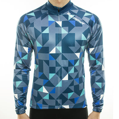 Racmmer Blue Triangles Roubaix Long Sleeve Jersey - Drafters Cycle Store