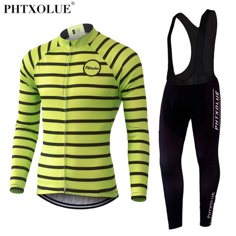 Phtxolue Flourescent Striped Jersey and Bib Leggings Set (QY373) - Drafters Cycle Store