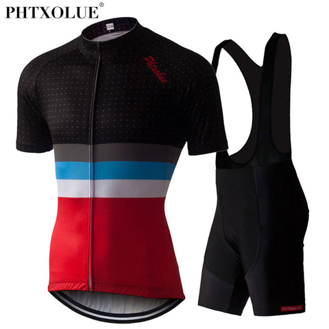Phtxolue Stripes Jersey & Bib Shorts(SF048) - Drafters Cycle Store