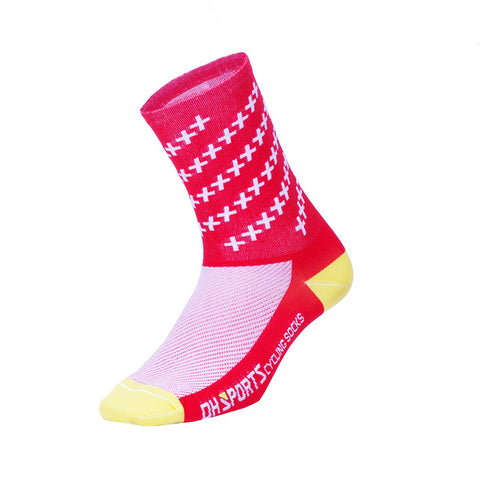 Red Crosshatched Compression Sport Socks