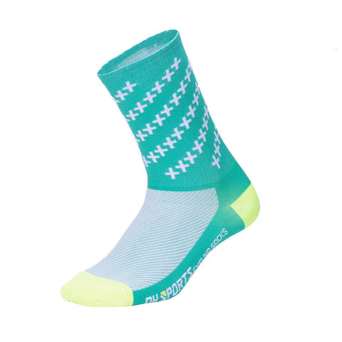 Green Crosshatched Compression Compression Sport Socks