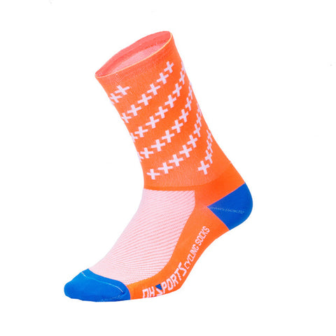 Orange Crosshatched Compression Compression Sport Socks