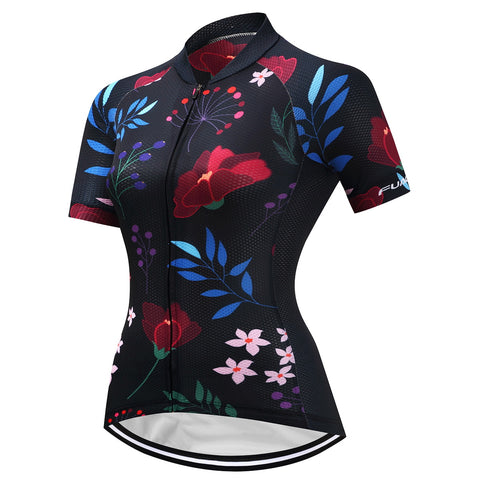 Womens Black Floral Jersey