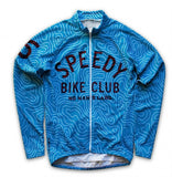 Blue Speedy Bike Club Retro Long Sleeve Racing Jersey