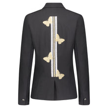 Load image into Gallery viewer, Hipchik Gold Butterflies With Gold/Silver Stripe Black Blazer - Hipchik