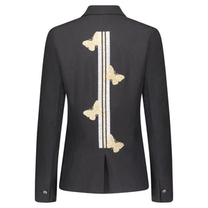 Hipchik Gold Butterflies With Gold/Silver Stripe Black Blazer - Hipchik