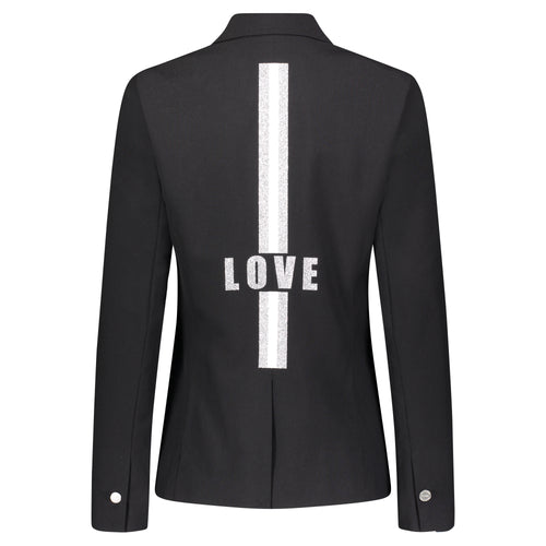 Hipchik Love With White Stripes Black Blazer - Hipchik