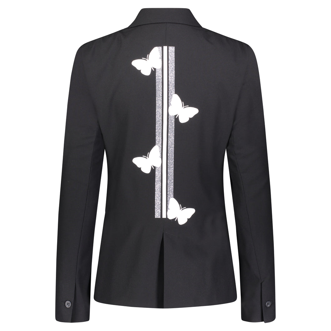 Hipchik White Butterflies With Silver White Stripe Black Blazer - Hipchik